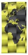 3d World Map Composition 4 Beach Towel