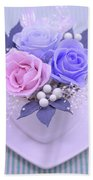 A Gift Of Preservrd Flower And Clay Flower Arrangement, Blue And Beach Towel