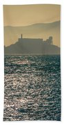 Alcatraz Island Prison San Francisco Bay At Sunset Beach Towel