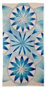 4 Blue Flowers Mandala Beach Towel by Andrea Thompson