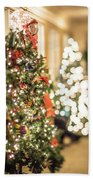 Christmas Tree And Decorations With Shallow Depth Of Field Beach Towel