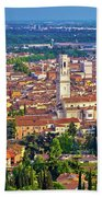 City Of Verona Old Center And Adige River Aerial Panoramic View Beach Towel