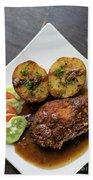 Cordon Bleu Breaded Fried Chicken Gravy And Potatoes Meal Beach Towel