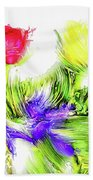 Flower Frame Border Beach Towel