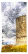 Hadleigh Castle Art Beach Towel