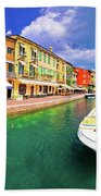 Lazise Colorful Harbor And Boats Panoramic View Beach Towel