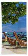 Long-tail Boats, The Andaman Sea And Hills In Ko Phi Phi Don, Th Beach Towel