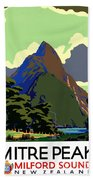 New Zealand Vintage Travel Poster Restored Beach Towel