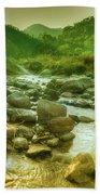 Nice River Water Flowing Through Rocks At Dawn Beach Towel