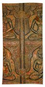 4 Panels Buddhas Wall Carving With Antique Filter Beach Towel