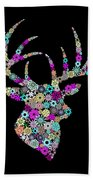 Reindeer Design By Snowflakes Beach Towel