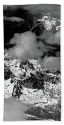 Rocky Mountains In Colorado With Snow Aerial Black And White Beach Towel