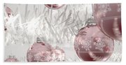 Rose Gold Christmas Baubels Beach Sheet