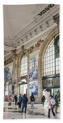 Sao Bento Railway Station Landmark Interior In Porto Portugal Beach Towel