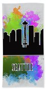 Seattle Skyline Silhouette Beach Towel