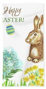 Spring Rabbit And Flowers Beach Towel