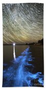 Star Trails And Bioluminescence Beach Towel by Philip Hart