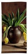 Still Life With Tulips Beach Sheet
