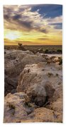 Sunset Over Walls Of China In Mungo National Park, Australia Beach Towel