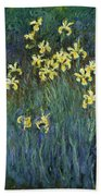 Yellow Irises Beach Towel