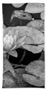4434- Lily Pads Black And White Beach Towel