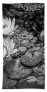 4445- Lily Pads Black And White Beach Towel