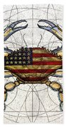 4th Of July Crab Beach Towel by Charles Harden