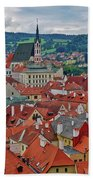 A View Of Cesky Krumlov In The Czech Republic Beach Towel