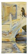 Bridge With Figures Beach Towel