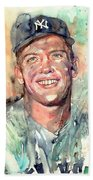 Mickey Mantle Portrait Beach Sheet