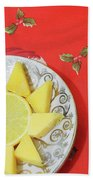 On The Eve Of Christmas. Tea Drinking With Cheese. Beach Towel
