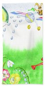Rabbits And Flowers Beach Towel