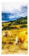 Resting Cows Art Beach Towel