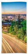 Spokane Washington City Skyline And Streets Beach Towel