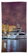 St Petersburg Florida City Skyline And Waterfront At Night Beach Towel