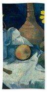 Still Life With Teapot And Fruit Beach Towel