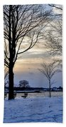 Sunset Over Obear Park In Snow Beach Towel