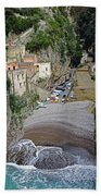 This Is A View Of Furore A Small Village Located On The Amalfi Coast In Italy  Beach Towel