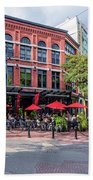 Outdoor Cafe In Gastown, Vancouver, British Columbia, Canada Beach Towel