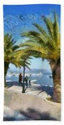 Walkway In Nafplio Town Beach Towel