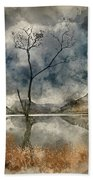 Watercolour Painting Of Beautiful Autumn Fall Landscape Image Of Beach Towel