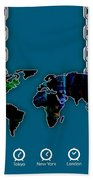 World Map Collection Beach Towel