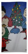 50 Years A Charlie Brown Christmas Acrylic Painting Beach Towel