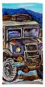 50's Dodge Truck Red Wood Barn Outdoor Hockey Rink  Art Canadian Winter Landscape Painting C Spandau Beach Towel