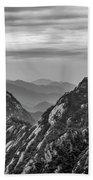 5818- Yellow Mountains Black And White Beach Towel