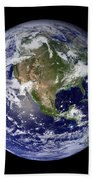 Full Earth Showing North America Beach Towel by Stocktrek Images