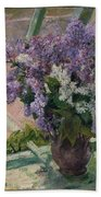 Lilacs In A Window Beach Towel