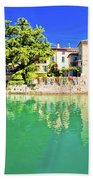 Town Of Sirmione Entrance Walls View Beach Towel