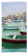 Traditional Boats At Marsaxlokk Harbor In Malta Beach Towel