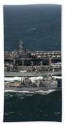 Underway Replenishment At Sea With U.s Beach Towel